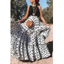 New Fashion Sweet Womens Polka Dot Ruffle Trim High Waist Loose Maxi Skirt