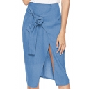 Womens Hot Popular Blue Tie-Front Split Chic Casual Midi Skirt