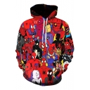 Funny Collection Red Long Sleeve Pullover Drawstring Hoodie