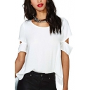 Womens Simple PLain Hollow Out Sleeve White Chiffon T-Shirt Top