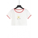 Girls Simple Cartoon Sun Embroidery Contrast Trim Round Neck Short Sleeve White Crop Tee