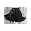 Summer Hot Fashion Plain Elastic Waist Pocket and Ribbon Embellished Pleated A-Line Mini Skirt