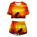 Popular The Lion King 3D Print Crop Tee with Dolphin Shorts Two-Piece Set