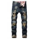 Guys Fashion Vintage Washed Dark Blue Regular Fit Frayed Ripped Jeans