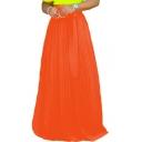 Trendy Hot Sale Plain High Waist Bow-Tie Pleated Floor Length Maxi Chiffon Skirt