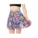 Summer Hot Fashion Cool Unique Ghost Print High Waist Pleated Mini Skater Skirt