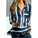 New Arrival Womens Striped Print Button Front Long Sleeve Chest Patch Pocket Casual Loose Chiffon Shirts