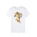 New Trendy Womens Plain Angel Printed Round Neck Short Sleeve T-Shirts