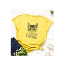 Summer Hot Fashion Plain Letter Cat Printed Rolled Sleeve Round Neck Knotted Side Cotton T-Shirts