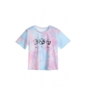 Fashion Cool Unique Tie Dye Short Sleeve Round Neck Cartoon Printed T-Shirt