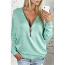 Hot Stylish Plain Plunge V Neck Zip Front Long Sleeve Basics T-Shirts