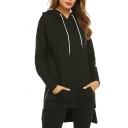 Womens New Stylish Simple Plain Zip Side Dipped Hem Longline Casual Hoodie