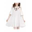 Summer Hot Trendy Oversize Cold Shoulder Flare Sleeve Pom Pom Embellished Floral Printed Maternity Mini A-Line Dress