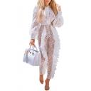 Womens Hot Stylish Elegant White Long Sleeve Tie Neck Ruffle Trim Sheer Lace Jumpsuits