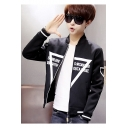 Guys Unique Triangle Letter Printed Stand Collar Long Sleeve Zip Up Fitted Jacket