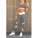Womens Stylish Chic Elastic Waist Colorblock Patch Skinny Ankle Length Legging Pants