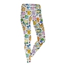 Chic Cute Multi Cartoon Printed Elastic Waist Fitted Legging Pants for Womens