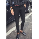 Guys New Fashion Classic Stripe Buckle Design Slim Tailored Suit Pants Dress Pants