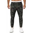 Men's Cool Fashion Camouflage Printed Drawstring Waist Casual Cargo Pants with Side Flap Pocket