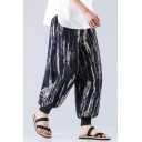 Guys Chinese Style New Fashion Unique Printed Casual Linen Bloom Pants Vintage Wide Leg Pants