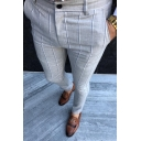 New Fashion Stripe Printed Men's Casual Slim Dress Pants Pencil Pants