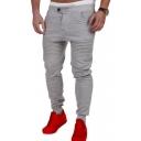 Men's Hot Fashion Simple Plain Pleated Detail Casual Slim Jogging Pants Pencil Pants