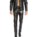 Men's Popular Fashion Solid Color Zip Embellished Black PU Leather Biker Pants Night Club Pants