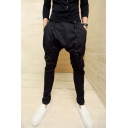 Men's Trendy Simple Plain Rivet Embellished Black Low Crotch Harem Pants