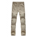 New Fashion Simple Plain Drawstring Waist Casual Linen Pants for Guys