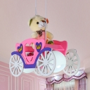 Rickshaw Boys Girls Bedroom Pendant Light Wood Modern Lovely LED Hanging Light with Bear in Blue/Pink