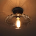 Vintage Stylish Cone Ceiling Mount Light 1 Bulb Ridged Glass Flush Light for Hallway Kitchen