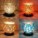Plug-In Mosaic Table Light Spherical Shade 1 Bulb Stained Glass Night Light for Hotel Villa