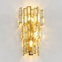 Gold 3 Tiers Wall Light 5 Lights Postmodern Metal Sconce Light with Clear Crystal for Hotel Shop