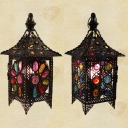 Pavilion Restaurant Cafe Table Light Metal 1 Light Moroccan Night Light in Bronze with Crystal