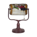 Multi-Color Butterfly Desk Light One Light Tiffany Antique Stained Glass Banker Lamp for Office