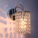 Cloth Shop Cylinder Sconce Light Metal 1 Bulb Classic Style Chrome Wall Lamp with Crystal Bead