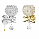 Metal Spherical LED Wall Light with Crystal 1 Head Modern Stylish Sconce Light in Gold/Chrome for Bedroom