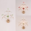 1 Light Twig Wall Light with Crystal & Blossom Luxurious Metal Wall Lamp in Green/Pink/White for Bedroom