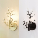 Hotel Bedroom Branch Wall Light Metal 1 Head Luxurious Style Black/Gold Sconce Light with Crystal