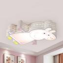 Metal Piggy Flush Mount Light Kids Stepless Dimming/Third Gear/White Ceiling Light in Pink for Hallway