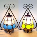 Hotel Cafe Lattice Dome Night Light Art Glass 1 Bulb Antique Tiffany Blue/Yellow Table Light
