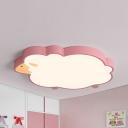 Acrylic Sheep LED Ceiling Light Kindergarten Cartoon Blue/Pink/White Flush Mount Light in Warm/White