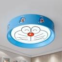 Metal Cartoon Cat LED Flush Ceiling Light Child Bedroom Cartoon Ceiling Fixture in Warm/White