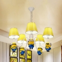 Cartoon Doll Hanging Light Metal 5 Lights Yellow Chandelier with Tapered Shade for Kid Bedroom