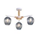Hammer Glass Modo Hanging Light Dining Room 3/6 Lights Modern Stylish Chandelier in Gray/Green/White