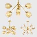 Open Glass Bud Chandelier Dining Room 7/9/13 Heads Modern Elegant Hanging Light in Gold Finish