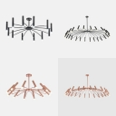Black/Rose Gold Fireworks Chandelier 12/24 Bulbs Modern Stylish Metal Hanging Light for Dining Room