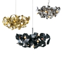 Dining Table Abstract Hanging Lamp Aluminum 6 Heads Postmodern Black/Gold/Silver Chandelier