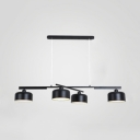 Metal Drum Shape Island Light 4 Heads Nordic Style Island Lamp in Black Finish for Study Room