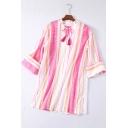 Summer Girls Trendy Pink Stripe Print Tassel Tied V-Neck Casual Loose Blouse